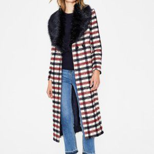 Boden Burley Coat  Navy and Wine Check Plaid 12